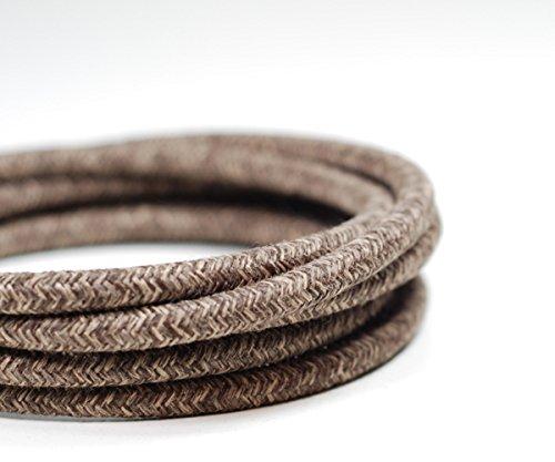 Tissu vintage premium italien Flex câble d'éclairage 3 Core | Marron Vintage