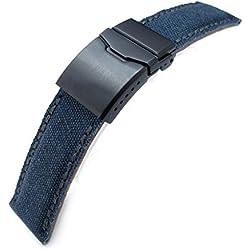 24mm MiLTAT Navy Blue Washed Canvas Watch Band, Dark Grey Wax Stitching, BK-Chamfer Clasp