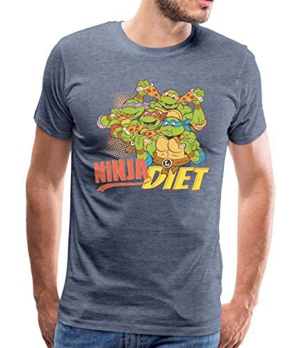 tles Ninja Diet Pizza Männer Premium T-Shirt, L, Blau meliert ()