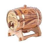 ZGQJT 1.5L Millésime Chêne Fût De Vin Distributeur De Vin Distributeur De Bois Stockage De Stockage Whisky Bière Au Vinaigre Construit en Aluminium Doublure (Color : Wood)