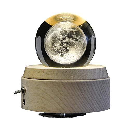 WEI MM LED Beleuchtung rotierende Spieluhr, Mond 3D Tischlampe, Kristallkugel Nachtlicht, Schlafzimmer Nachttischlampe Kinder Weihnachtsbeleuchtung