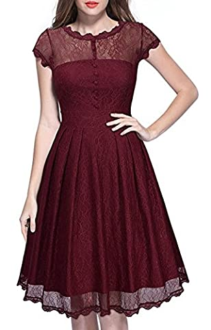 Summer Mae Women's Vintage 1969's Cocktail Lace Flared A Line Dress