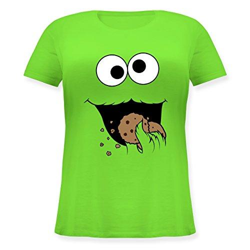 Karneval & Fasching - Keks-Monster - L (48) - Hellgrün - JHK601 - Lockeres Damen-Shirt in großen Größen mit Rundhalsausschnitt