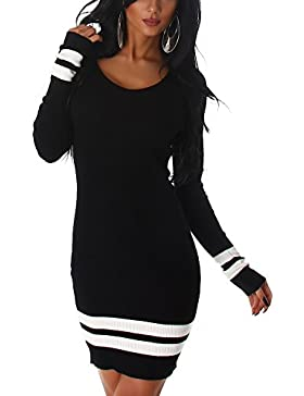 Jela London Damen Feinstrick Strickkleid Stretch Longpulli Pullikleid Feinripp-Optik Streifen-Muster (36 38)