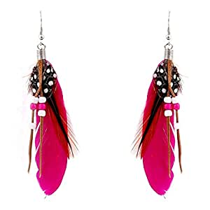 Ashiana Pink Feather And Beads Tassel Earrings