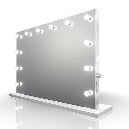 Diamond X Collection Weißer Hochglanz Hollywood Theater-Garderobe CW LED-Schminkspiegel k313MCW -