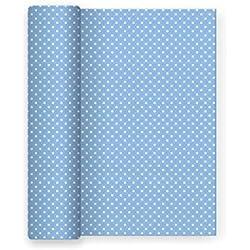 Mantel de papel para fiesta con decorado de Lunares Azul Baby - 1,2 x 5 m