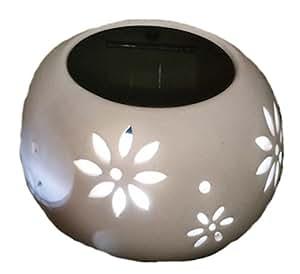 Trans Continental Group - Vaso in ceramica con LED, a energia solare, colore bianco