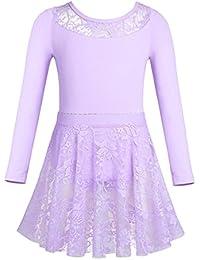 YiZYiF Justaucorps de Danse Coton Fille Lace Robe de Ballet Danse Classique  à Manches Longues Léotard 0a1b15d4aa2