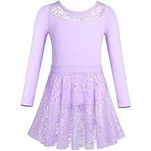 Freebily Tutu Enfant Fille Justaucorps de Ballet Danse Gym Classique Body  Combinaison à Manches Longues Dentelle b7bca434afa