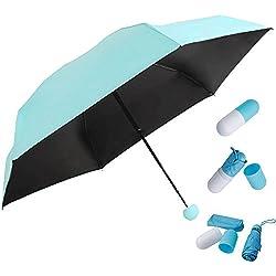 HENGSONG Protection Anti-UV Mini Voyage Parapluie Compact Pliant Pluie Parasol Double Usage Taud Sac Parapluie Pour Homme et Femme (Bleu)