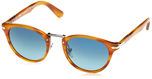 Persol 0Po3108S 960/S3 49, Occhiali da Sole Uomo, Marrone (Striped Brown/Lightblueegraddluepolar)