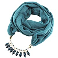Scarf for Women丨Linen Solid Tassel Scarves Ethnic Necklace Jewelry Acrylic Pendant Women Turban⭐⭐⭐⭐⭐