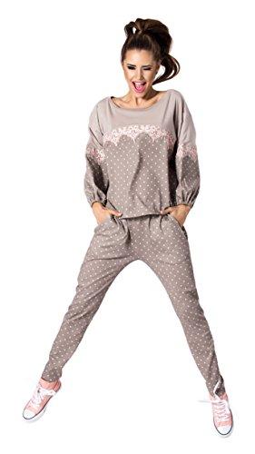 PIGEON Lingerie Hochwertiger und Trendiger Schlafanzug Damen Pyjama Hausanzug aus Langer Hose und langarmem Oberteil in Geschenkbox (P-544/2) (S,Mocca)