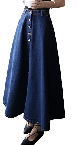 Ghope Femmes Mode Button Front Pliss¨¦ Maxi Jupe Denim Bleu Fonc¨¦