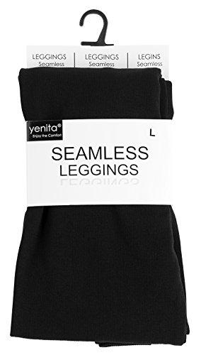 Damen Leggings in Seamless Qualität von Yenita® Perfekte Passform Schwarz