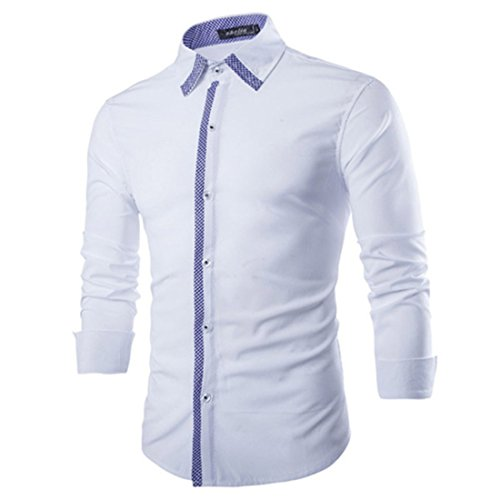 Men's High Quality Solid Camisas Long Sleeve Slim Fit Casual Shirts white
