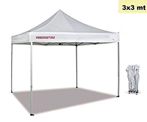 Webeingstore robust Faltpavillon 3m x 3m Top-Qualität, komplett wasserdicht, PVC-Beschichtung,...