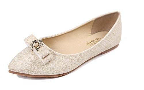 Spitz Mit Schleife Zehe Farbe Damen Schuhe Flache Weiß Gemischte Aalardom 1PqtvR