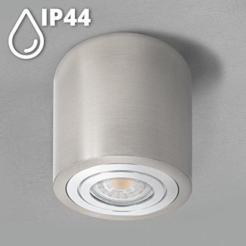 SSC-LUXon® Aufbau Spotlampe rund Eisen gebürstet - mit IP44 Schutz für Bad & Außen - Deckenlicht inkl. LED GU10 5W warmweiß