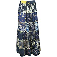 Mogul Interior Women Maxi Skirt Sky Blue Vintage Printed Patchwork Rayon Skirts S/M