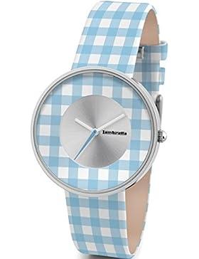 Lambretta Cielo Vichy Blau - Edelstahl Leder Blau und Weiß gingham Frau Uhr