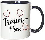 Mister Merchandise Kaffeebecher Tasse Traumfrau Lieblingsmensch Liebe Verliebt Hochzeitstag Valentinstag Teetasse Becher Weiß-Blau