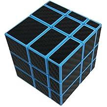 Wings of wind - Smooth 3x3x3 cubo mágico desigual, etiqueta de la fibra del carbón 3x3 Cubo del rompecabezas del espejo (Azul)