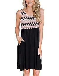 8ebb5023506 BesserBay Damen Kleid Ärmelos Sommerkleid Strandkleid Knielang Kleider mit  Tasche