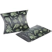 50pcs(7.3*7.2*2.5cm) Cajas de Caramelos Bombones Dulces Boda Bautizo Fiesta Cumpleaños Forma Almohadas Hoja verde impreso (negro + verde)