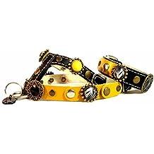 Arnés para Perro Pequeño y Chihuahua con Pulsera | Cuero Negro | Parches Amarillo con Ornamentos Bonitos