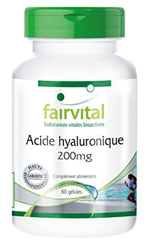 Acide hyaluronique 200mg - 60 gélules - Substance pure - Gélules haute dose - Peau ferme et articulations saines