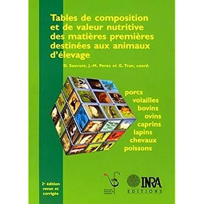 Tables de composition et de valeur nutritive des matières premières destinées aux animaux d'élevage: Porcs, volailles, bovins, ovins, caprins, lapins, chevaux, poissons