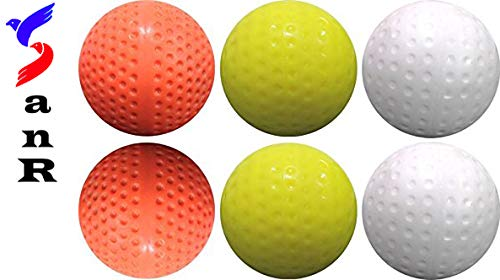 SanR HockyBall6 PU Club Practice Turf Ball, 2.8 to 2.96 Inch, Weight 156 to 163 Grams Pack of 6 (White)
