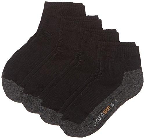 Camano Unisex 4er Pack Sportsocken mit Feuchtigkeitsregulierung Damen & Herren Quarter Socks, Schwarz (Black 05), (Herstellergröße: 43/46)