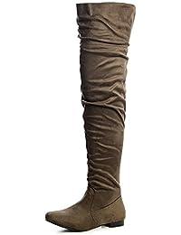 Easemax Damen Elegant Langschaft Overknee Schnürung Nubk Stiefeletten Schwarz 41 EU