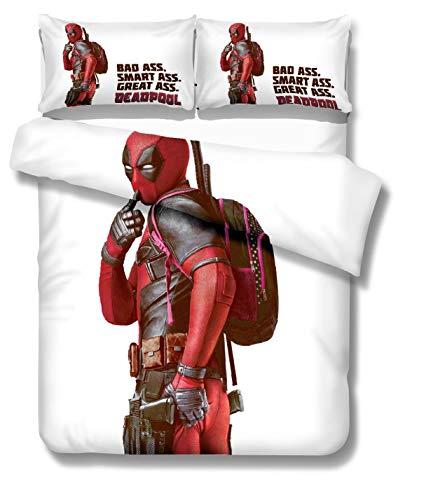 YANAN Deadpool Bettwäsche Bettbezug Set Bettbezug Plus 2 Kissenbezüge Weiche Qualität Falten Verblassen und Fleckenresistent (Single) -