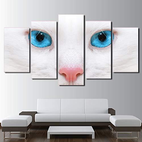 kxdrfz Modulare Leinwand Gemälde Wandkunst Bilder Mode Home Room Decor 5 Stücke Weiße Katze Blaue Augen Poster HD Gedruckt Rahmen-Frame