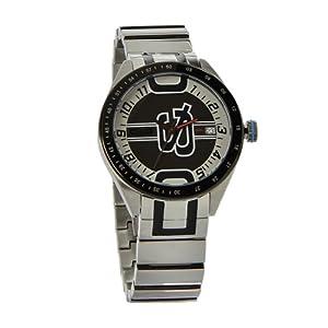 D&G Dolce&Gabbana D&G Shuffled – Reloj analógico unisex de cuarzo con correa de acero inoxidable plateada – sumergible a 50 metros