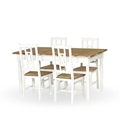 PAJOMA 09072 Set Esszimmer + 4 Stühle  im Landhausstil Claire,  Holzfaser/Paulownie, Tisch Maße: L 150 x B 85 x 79 cm,  Stuhl Maße: B 44 x T43 x H 99 cm