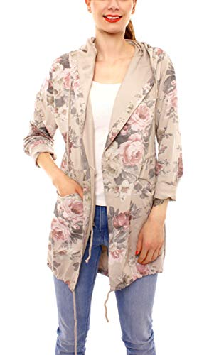 Easy Young Fashion Damen Cardigan Sweatjacke Lang Cotton Sweatparka mit Kapuze Geblümt One Size Beige -