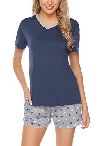 Aibrou Damen Pyjama Schlafanzug Baumwolle Kurz Streifen Nachtwäsche Nachthemd Hausanzug Set Kurzarm Rundhals-Ausschnitt für Sommer Marine S - Streifen-pyjama-set