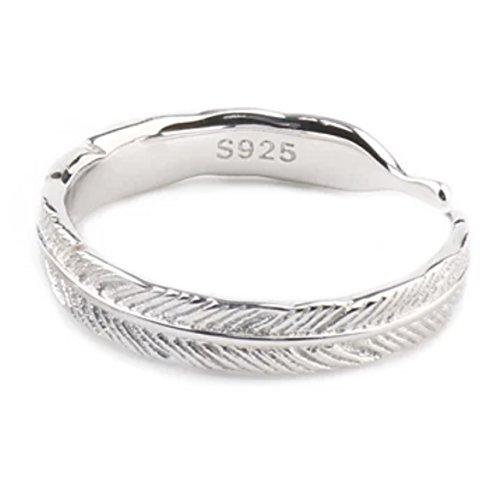 Schöner offener und verstellbarer Ring in der Form einer langen Feder oder eines Blattes, Schmuck von Iszie