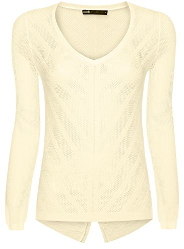 oodji Collection Femme Pull Ajouré avec Col Rond Jaune (5000N)