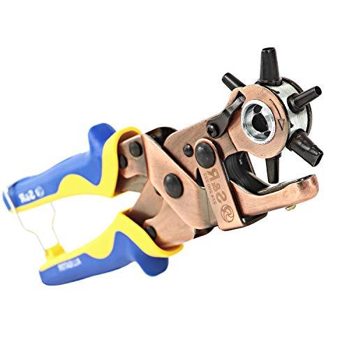 ALLIGATOR Revolverlochzange OVAL und RUND + 1 Ersatz-Amboss; Lochzange-Pfeifenzange mit Hebel-Übersetzung und 3 RUNDEN und 3 OVALEN Lochpfeifen