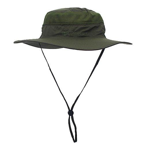 Decentron Unisex Herren Outdoor Maschenweite UV Sonnenhut Camouflage Boonie-Hüten Eimer hut Fischen Hüte mit Bindfaden Armeegrün Design Eimer Hüte Für Männer