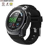 OOLIFENG Smartwatch, Laufen Uhren mit GPS, Pulsmesser, Kompass, Sport Schrittzähler für iOS Android, Black