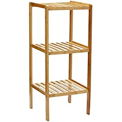 Relaxdays 10013496 Étagère en bambou pour salle de bain Rangement HxlxP : 79 x 33 x 33 cm meuble colonne sur pied 3 niveaux en bois naturel pour la cuisine 3 niveaux couloir cave jardin, nature