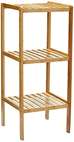 Relaxdays Bamboo Bathroom Shelf with 3 Tiers, 79 x 33 x 33 cm, Free-Standing Shelving Unit, Wooden Storage Shelves, Natural