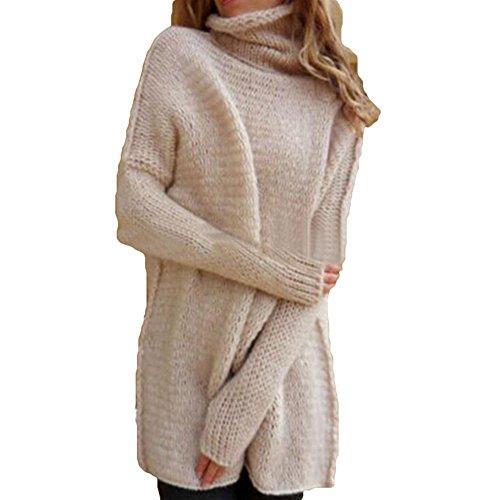 hibote Femmes lâche élégant Crochet tricot col roulé surdimensionné hiver haut veste manteau manteau Rose
